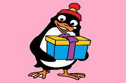 Pingwin z prezentem