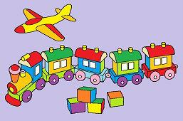 Zabawki – samolot, pociąg i kostki