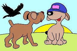 Dwa psy i wrona