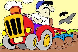 Rolnik w traktorze