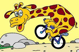 Żyrafa na rowerze