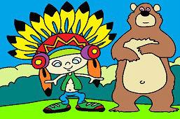 Indianin i niedźwiedź