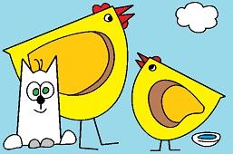 Kot i kurczaki