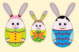 Trzy króliczki wielkanocne