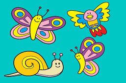 Ślimak, ptak i motyle