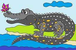 Krokodyl z motylem