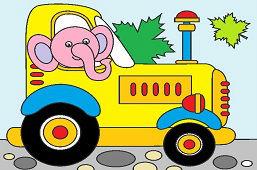 Słoń kierowca ciągnika