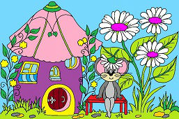 Mysz i dom z kwiatami
