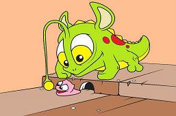 Potwórka łapie ślimaka