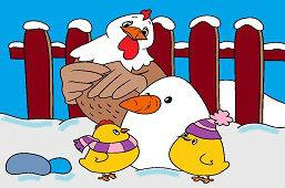 Kury i bałwanek