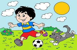 Chłopiec z piłką nożną