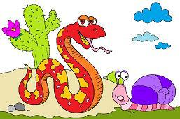 Duży wąż i ślimak