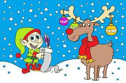 Elf i świąteczny renifer