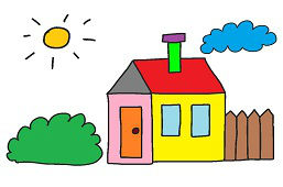 Domek, słońce i chmurka