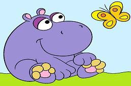 Śliczny hipopotam i motyl
