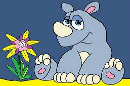 Młody nosorożec i kwiat
