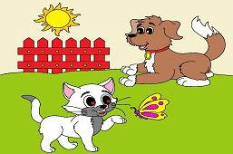 Pies i kotek z motylem