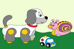 Pies, ślimak i samochodzik