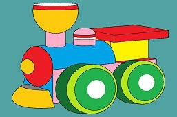 Kolorowa drewniana lokomotywa