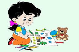 Mała dziewczynka rysuje