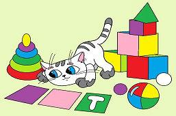 Kotek i zabawki